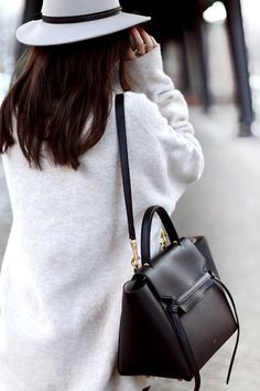 grey hat + black bag