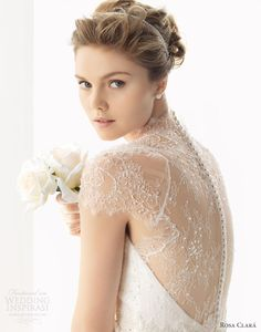 rosa clara 2014 soft wedding dresses unax scalloped cap sleeve lace back gown illusion back
