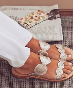 Silver  cut work sandal