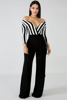 Women's Sexy Jumpsuit Long sleeve pinstriped jumpsuit Palazzo pinstripe jumpsuit Stretchy fabric V-neckline Long sleeve Wide bottoms Self tie waist strap, no closures Polyester, Spandex Hand wash cold water Do not bleach Jumpsuit Casual, Petite Jumpsuit, Striped Jumpsuit, Pant Jumpsuit, Long Jumpsuits, Jumpsuits For Women, Suit Fashion, Fashion Outfits, Womens Fashion