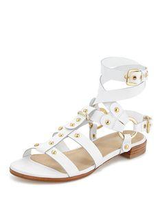 X2N0H Stuart Weitzman On-the-Run Leather Gladiator Sandal, White