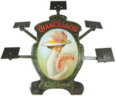 Chancellor Cigar Embossed Tin Die Cut Store Easel Back Display. 39 on Apr 2014 Advertising Ads, Vintage Advertisements, Tobacco Store, Wooden Cigar Boxes, Counter Display, Pipes And Cigars, Great Ads, Store Displays, Tins