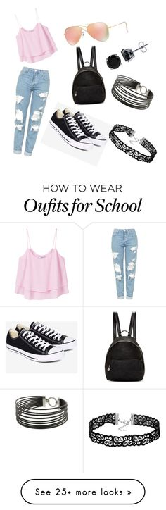 school day #1 by maya-isabella on Polyvore featuring Topshop, MANGO, Converse, Ray-Ban, STELLA McCARTNEY, BERRICLE and Charriol