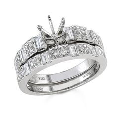 Bijan Feré 18k White Gold Round & Baguette Diamond Wedding Set