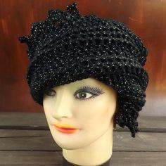 Black Crochet Hat Womens Hat Womens Crochet Hat Crochet Beanie Hat Black Sparkle Hat Black Hat African Hat LAUREN Beanie Hat for Women by strawberrycouture by #strawberrycouture on #Etsy