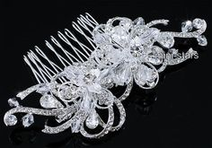 Bridal Art Deco High Quality Vintage Style Flower Crystal Hair Comb AT1658