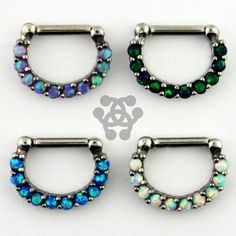 Top left, bottom 2,  Ten Synthetic Opal Septum Clickers – Tulsa Body Jewelry