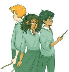 artcii: young Harry, Hermione, & Ron from Harry Potter by JK Rowling