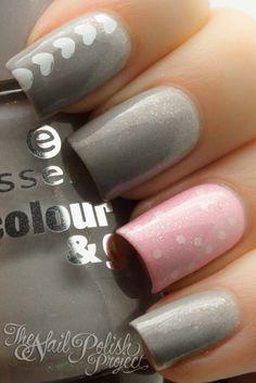 Cute Pink/Gray Nails