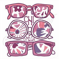 Chi Omega | Chi O | Sunglasses Design | Summer Design | South by Sea | Greek Tee…