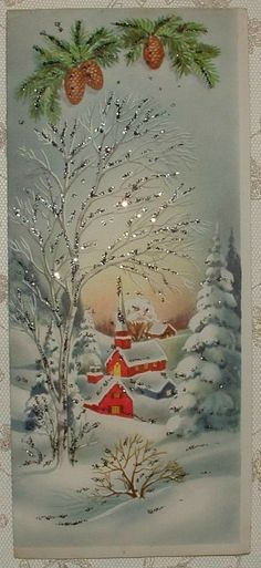 Trendy wall paper vintage old christmas cards Ideas Vintage Christmas Images, Old Fashioned Christmas, Christmas Scenes, Christmas Past, Retro Christmas, Vintage Holiday, Christmas Pictures, Winter Christmas, Christmas Crafts