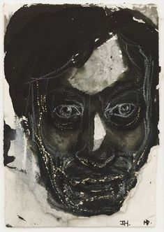 Marlene Dumas, Portret voor JH, 1992. Ink and crayon on paper