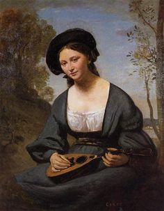 Woman in a Toque with a Mandolin, c.1850 - c.1855 - Camille Corot