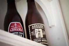 Adnams beer bottles- funky labels at The Lodge.