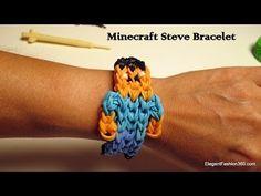▶ How to make Minecraft Steve Bracelet on Rainbow Loom - YouTube