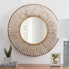 Rattan Circle Wall Mirror, 31 in. from Kirkland's Entryway Mirror, Entryway Decor, Wall Mirror, Framed Mirrors, Rattan, Over The Door Mirror, How To Clean Mirrors, Wicker Mirror, Bamboo Wall