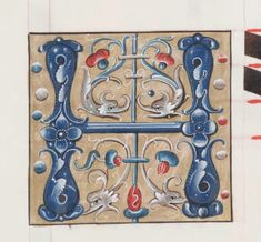A single illuminated letter H illustration from the 1500s. It features two pairs of griffins decorating a blue letter H. Flowers and vines in red, blue and grey.
