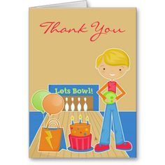 """Just had a birthday party for your kid and want to send """"Thank You"""" Cards? Then this Cute Bowling Card is the one! And it's totally customizable!"""