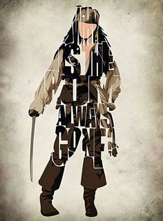 Captain Jack Sparrow Print - Johnny Depp as Jack Sparrow from Pirates of Caribbean - Minimalist Illustration Typography Art Print & Poster on Etsy, £15.33
