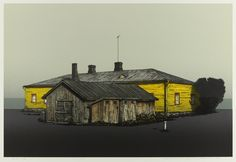 Hodaka Yoshida, a seeside house 1984 Japanese Buildings, Japanese Prints, Woodblock Print, Contemporary Artists, Printmaking, Photo Art, House Styles, Hodaka, Inspiration