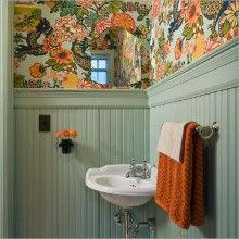 Concept for the powder room w the Beadboard shiplap and wallpaper! Superb Waynes Coating convention Portland Traditional Powder Room Inspiration with beadboard colorful wallpaper corner sink hex tile hexagon tile remodel Wall Mounted Vase whole Wall Mounted Vase, Design Rustique, Downstairs Toilet, Yellow Bathrooms, Of Wallpaper, Small Bathroom Wallpaper, Colorful Wallpaper, Pattern Wallpaper, Bathroom Inspiration