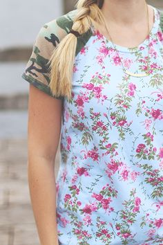 Camo + Floral Lane Raglan by Sew Much Ado