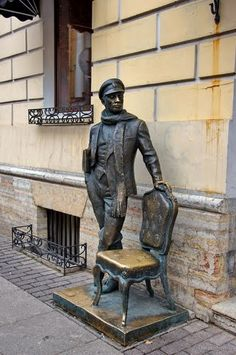 The monument to Ostap Bender, a con man from The Twelve Chairs novel (1928) by Ilf & Petrov, Saint Petersburg, Russia
