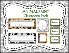 Animal Print Classroom Decoration Pack- $55 www.etsy.com/shop/lollylanddesigns