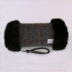 Harris Tweed Black /& Grey Herringbone Premium Faux Fur Trimmed Hand Muff Warmer