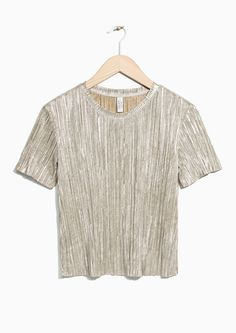 & Other Stories image 1 of Pleated Metallic Top in Gold