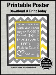 Best bath room signs for kids teeth 34 ideas Bathroom Rules, Bathroom Art, Bathroom Ideas, Room Signs, Wall Signs, Yellow Hand Towels, Yellow Sign, Gray Yellow, Yellow Walls