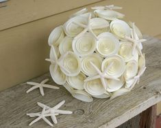 Starfish Bridal Bouquet Ivory Paper Wedding Bouquet by FlowerThyme, $92.00