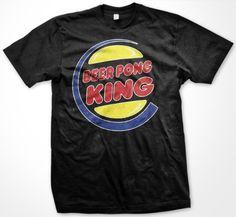Beer Pong King Mens T-shirt Funny Drinking Game Beirut Mens Shirt Large Black