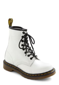 Point Blake Boot by Dr. Martens - White, Yellow, Black, 90s, Lace Up, Low