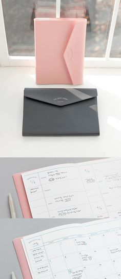 Simple, Classy and Super Useful! Ready to enjoy organized & productive life with The Note Diary Scheduler? Stationary Supplies, Cute Stationary, Deco Tumblr, Bujo, Notebook Design, Stationery Design, Korean Stationery, Bookbinding, School Supplies