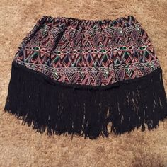 """Boho inspired fringed crop top Boho inspired crop top. Lined. Paisley and Sw inspired design.  Length of top is 7"""". Fringe is 6"""". Top measures 26"""" has elastic so could easily fit a large too Tops Crop Tops"""