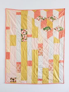 Peach+Floral+Quilt++In+Collaboration+with+Leah+by+GinaRockenwagner,+$200.00