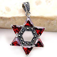 Jewish Star of David Sterling Silver Garnet, Marcasite Pendant  Price : $42.95 http://www.silverplazajewelry.com/Jewish-Sterling-Silver-Marcasite-Pendant/dp/B00IS4TVN2