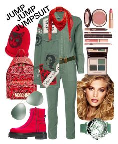 """""""Jump jump jumpsuit"""" by ahuserapx ❤ liked on Polyvore featuring Gucci, Moschino, Charlotte Tilbury, Nili Lotan, MadeWorn, MCM, Pierre Hardy, Oliver Peoples, Galtiscopio and jumpsuits"""