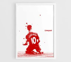 Philippe Coutinho Liverpool FC Football Poster - A3 Wall Art Print Poster, Minimalist Poster, Football Poster, Soccer Poster
