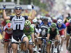 Tour de France 2014, Marcel Kittel sprints into London.  Please follow us @ http://www.pinterest.com/wocycling