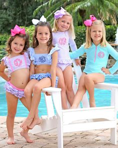 Great Deals on Classic Kids and Baby Clothes - Smocked and Monogrammed Dresses Smocked Auctions Little Girl Bikini, Little Girl Swimsuits, Beautiful Little Girls, Cute Little Girls, Cute Little Girl Dresses, Girls Dresses, Preteen Girls Fashion, Kids Fashion, Petite Fille