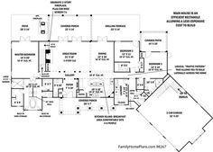 floor plan diagram for ranch home from plan 98267 Family Home Plans