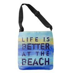 Shop Life is Better at the Beach - Blue Abstract Art Crossbody Bag created by ArtByLang. Types Of Bag, Art Store, Blue Abstract, Edge Design, Word Art, Life Is Good, Print Design, Crossbody Bag, Reusable Tote Bags