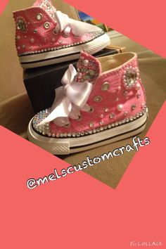 "Pink ""bedazzled baby"" custom infant/toddler converse by me @melscustomcrafts"