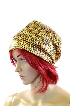 Gold Fish Scale Beanie Fishing Hat