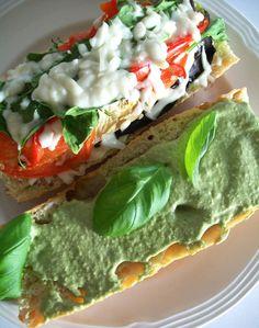 Oven-Crisp Pesto Eggplant Parmesan Sandwich