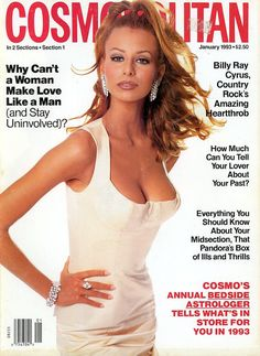 Cosmopolitan Magazine Niki Taylor Cover 1993  Billy Ray Cyrus  Fabio  Liza Minelli Fashion Stories Ads
