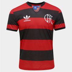 Camisa Adidas Flamengo Retrô - Vermelho+Preto