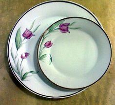 Parte de um jogo de pratos - meia dúzia - decorados com tulipas.
